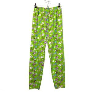 Y2K Retro Print Lime Green Floral Pants Casual